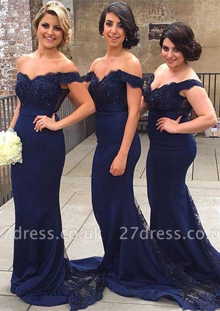 Elegant Off-the-shoulder Mermaid Lace Bridesmaid Dress UK Sweep Train JT144
