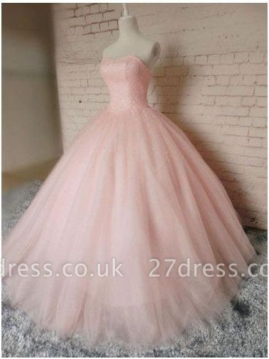 Sleeveless Sweetheart Prom Ball Gown Pink Tulle Dress UKes UK Chic Princess Dress UKes UK