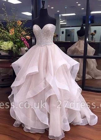 Tulle Beadings Sexy Ruffles Sweetheart Floor-Length Prom Dress UKes UK