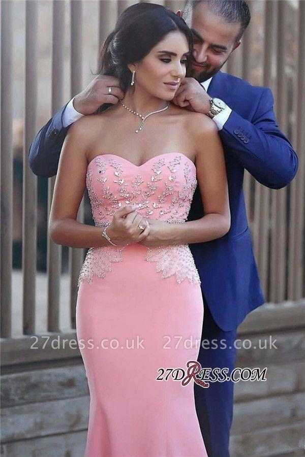 Pretty Pink Sweetheart Mermaid Beads Sleeveless Crystals Sequins Evening Dress UK BA6735