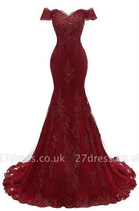 Luxury Burgundy Prom Dress UK | Mermaid Lace Evening Gowns