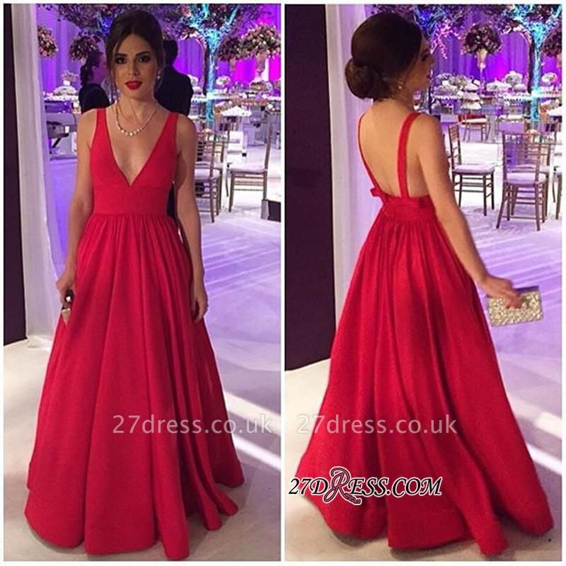 Sexy Sleeveless Sexy V-neck Long New Red Open-Back Evening Dress UKes UK