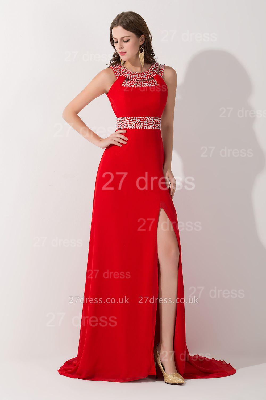 Elegant Red Front Split Evening Dress UK Crystals Sweep Train