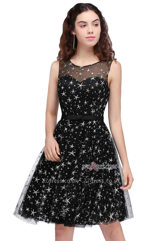A-line Sash Illusion Zipper Modest Short Sleeveless Homecoming Dress UK
