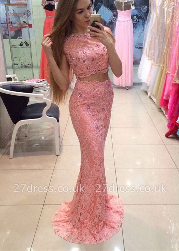 Chic Two Piece Lace Prom Dress UK Mermaid Crystal Long Party Dress UK