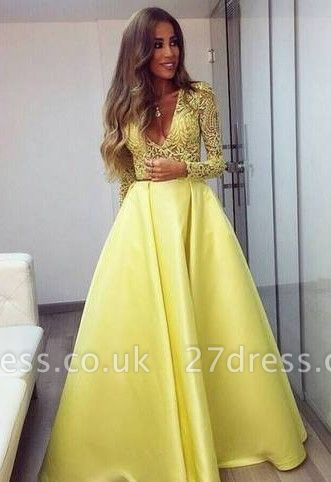 Stunning Yellow Long Sleeve Prom Dress UK V-Neck Lace BA3130