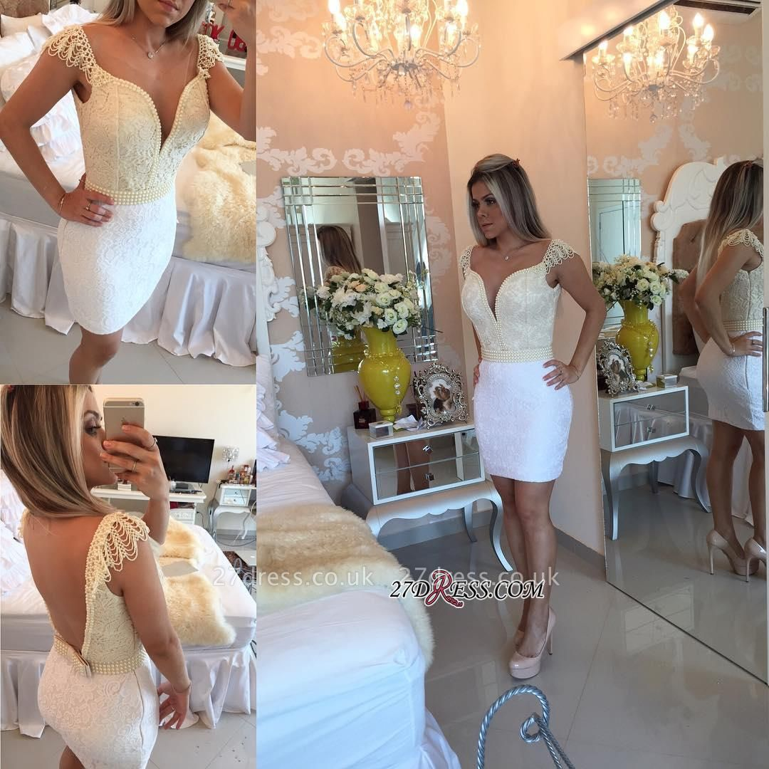 Mini Cap-Sleeve Bow Pearls Lace Bodycon Delicate Short Homecoming Dress UK