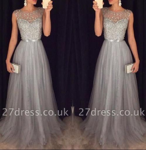Sexy Sparkly Tulle Grey A-line Sequins Beaded Sleeveless Evening Dress UKes UK AP0 BA3163