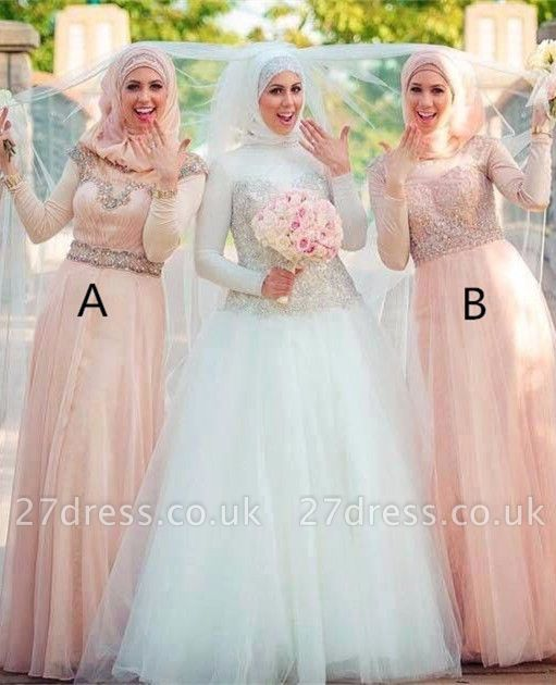 Sexy Long Sleeve Tulle Bridesmaid Dress UK High Neck Beadings