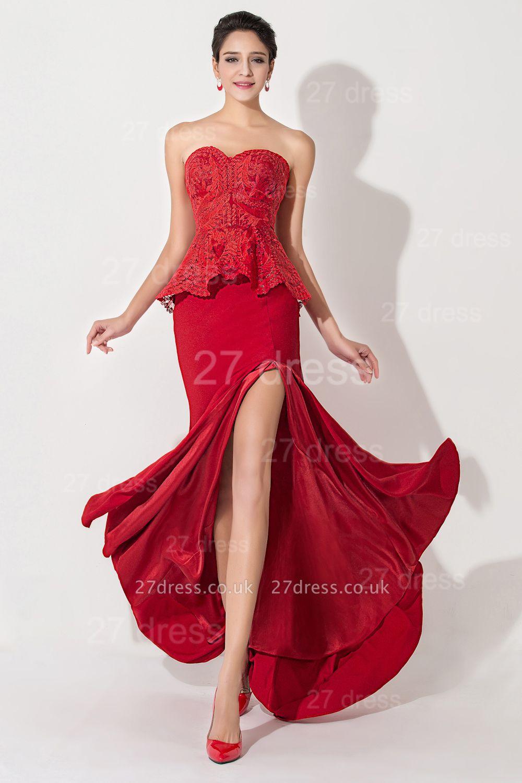 Red Sweetheart Sleeveless Evening Dress UK Front Split