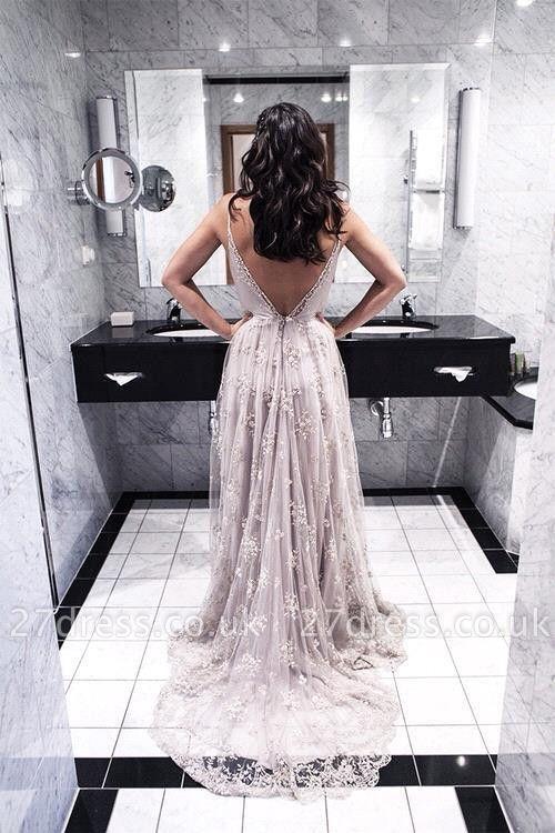 Elegant Spaghetti Strap Lace Prom Dress UK Open Back Sweep Train