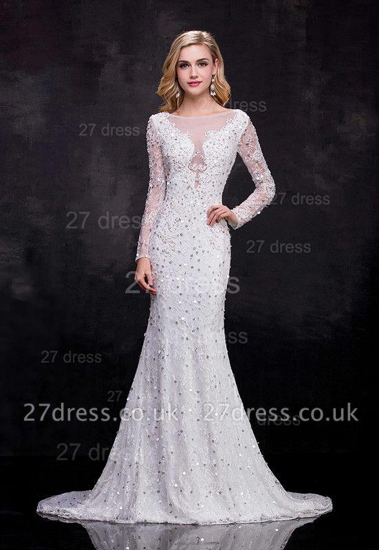 Delicate Long Sleeve Beadss Crystals Wedding Dress Sexy Mermaid Sweep Train