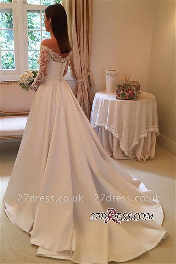 A-Line Off-the-Shoulder Detachable-Train Long-Sleeves Newest Wedding Dresses UK