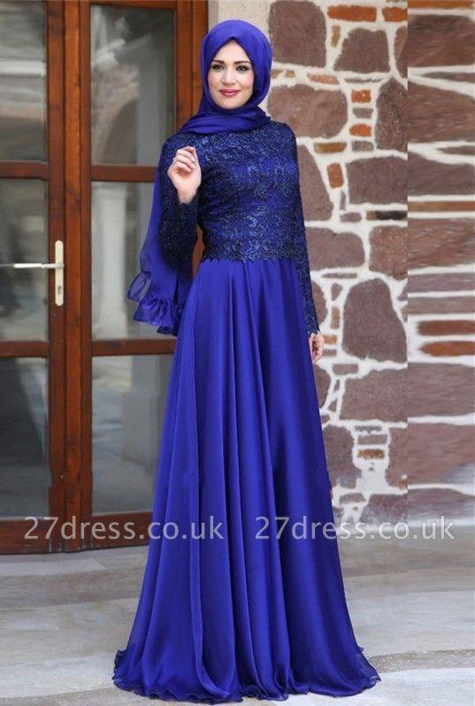 Newest Appliques Chiffon A-line Evening Dress UK Long Sleeve Zipper