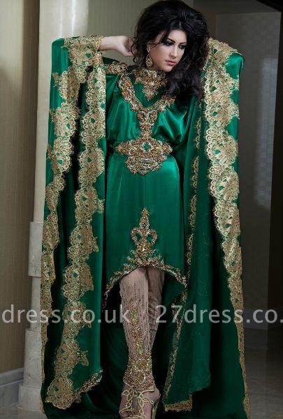Lace Satin Green Arabic Kaftan Prom Dress UKes UK Long Sleeves Gold Applique Abaya Dubai Evening Gowns
