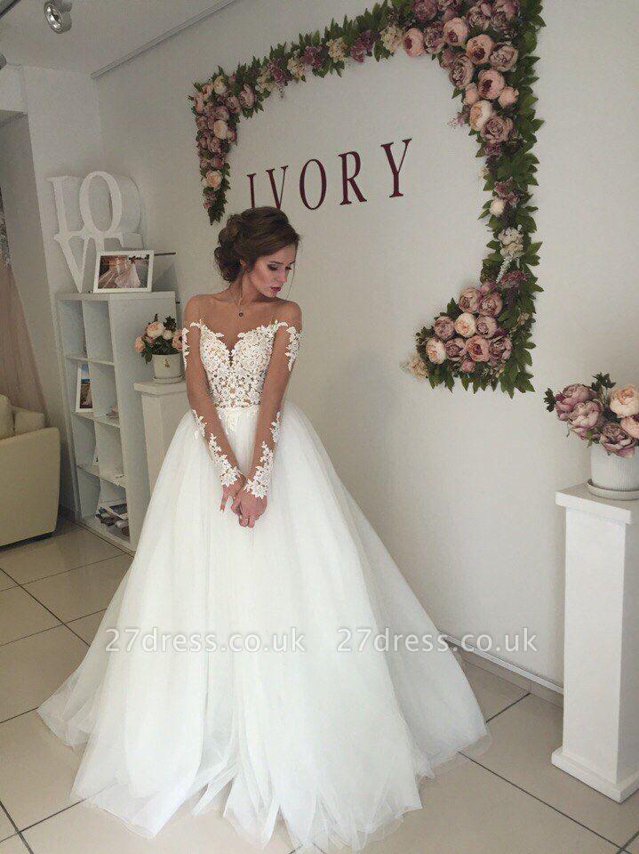 Elegant Off-the-shoulder Lace Appliques Wedding Dress Long Sleeve Tulle BA9085