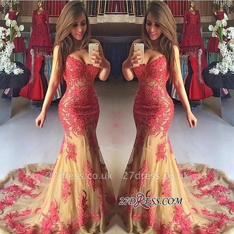 Mermaid Sexy Appliques Zipper Sweetheart Tulle Prom Dress UK
