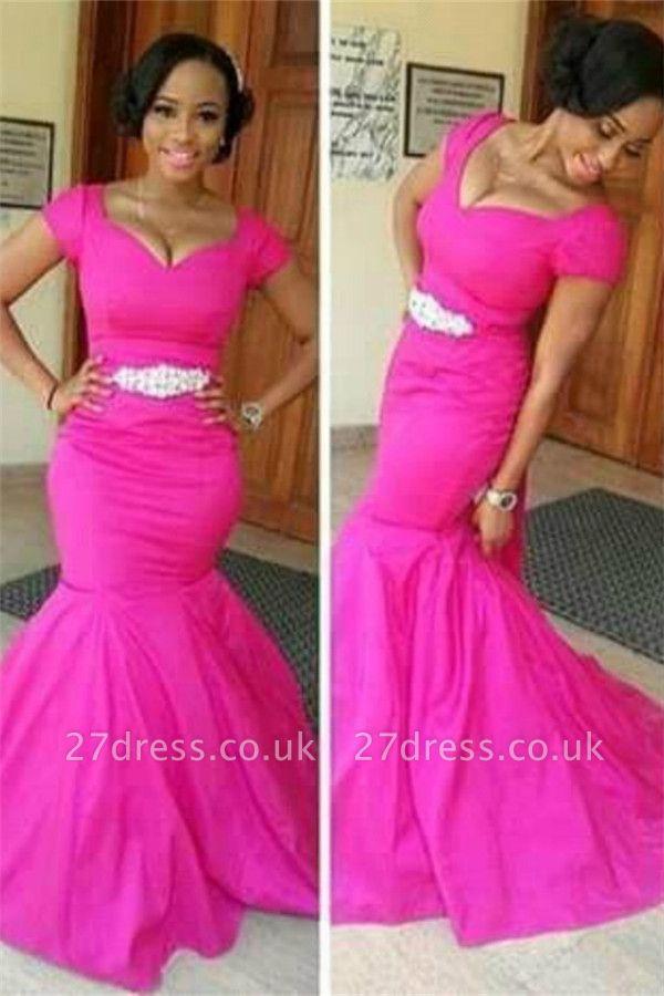 Gorgeous Fuchsia Cap Sleeve Mermaid Evening Dress UK