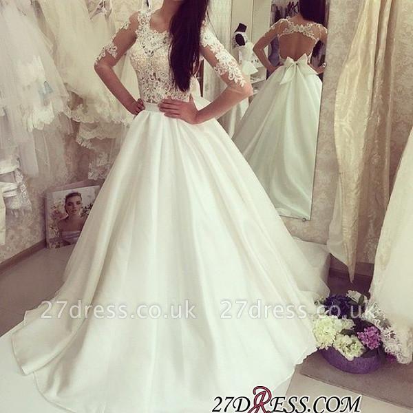 A-line Bow Sweep-train Elegant Half-sleeves Sweep-train Wedding Dress