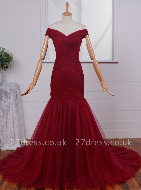 Gorgeous Off-the-Shoulder Mermaid Evening Dress UKes UK Tulle Burgundy BA4225