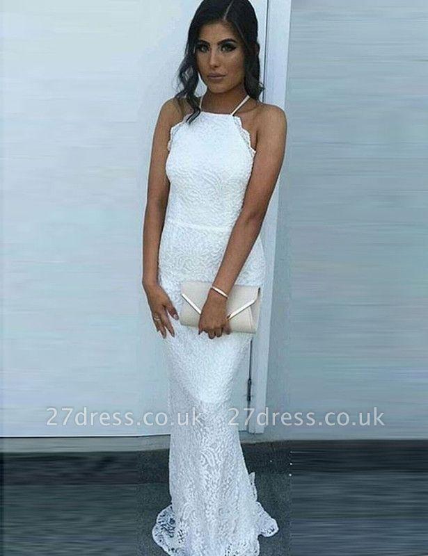 Sexy White Lace Prom Dress UK Mermaid Long