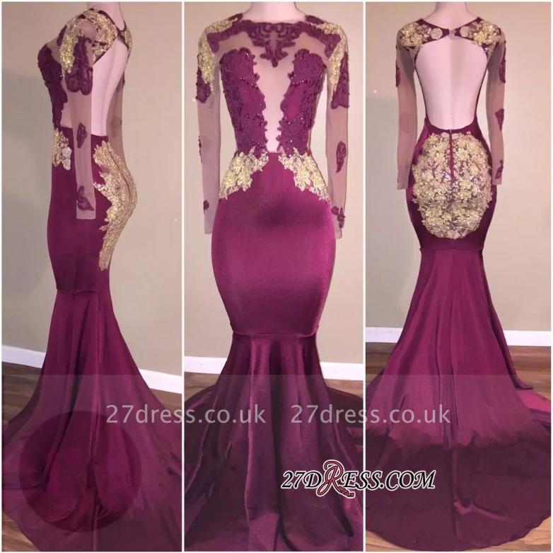 Luxury Appliques Long-Sleeve Open-Back Zipper Mermaid Prom Dress UK BA5385