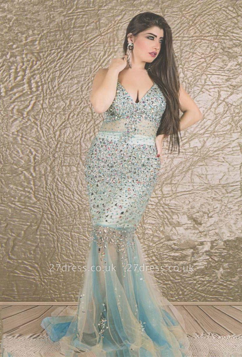Gorgeous V-neck Sleeveless Mermaid Prom Dress UK With Crystals