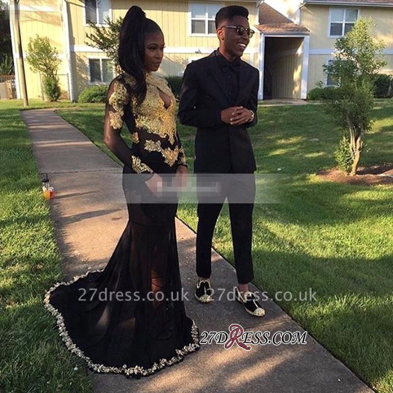 Long-Sleeve Keyhole Gold-Appliques Mermaid Black Elegant Prom Dress UK BK0