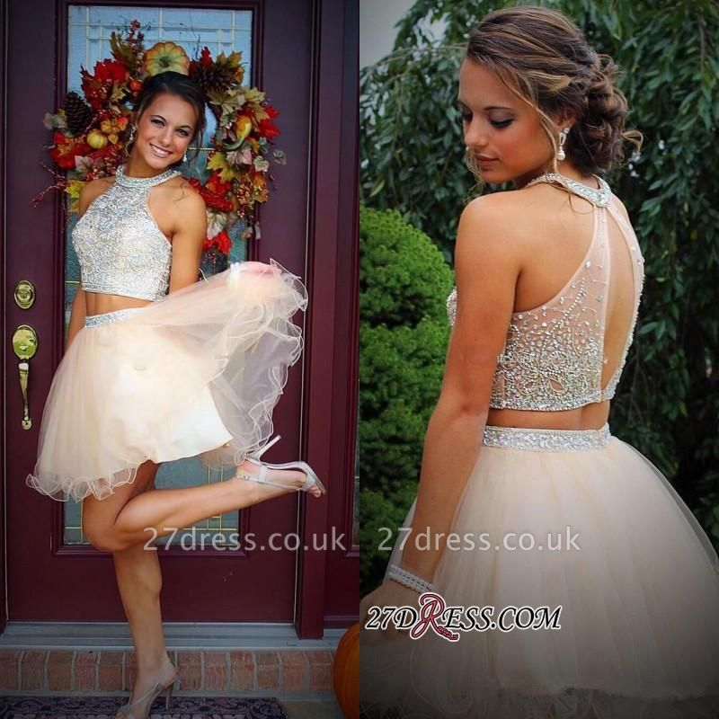 Short Champagne Halter Crystals Mini Discount Open-Back Two-Piece Organza Homecoming Dress UKes UK