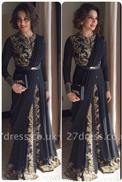 Sexy Long Sleeve Black Prom Dress UK With Appliques Floor-length