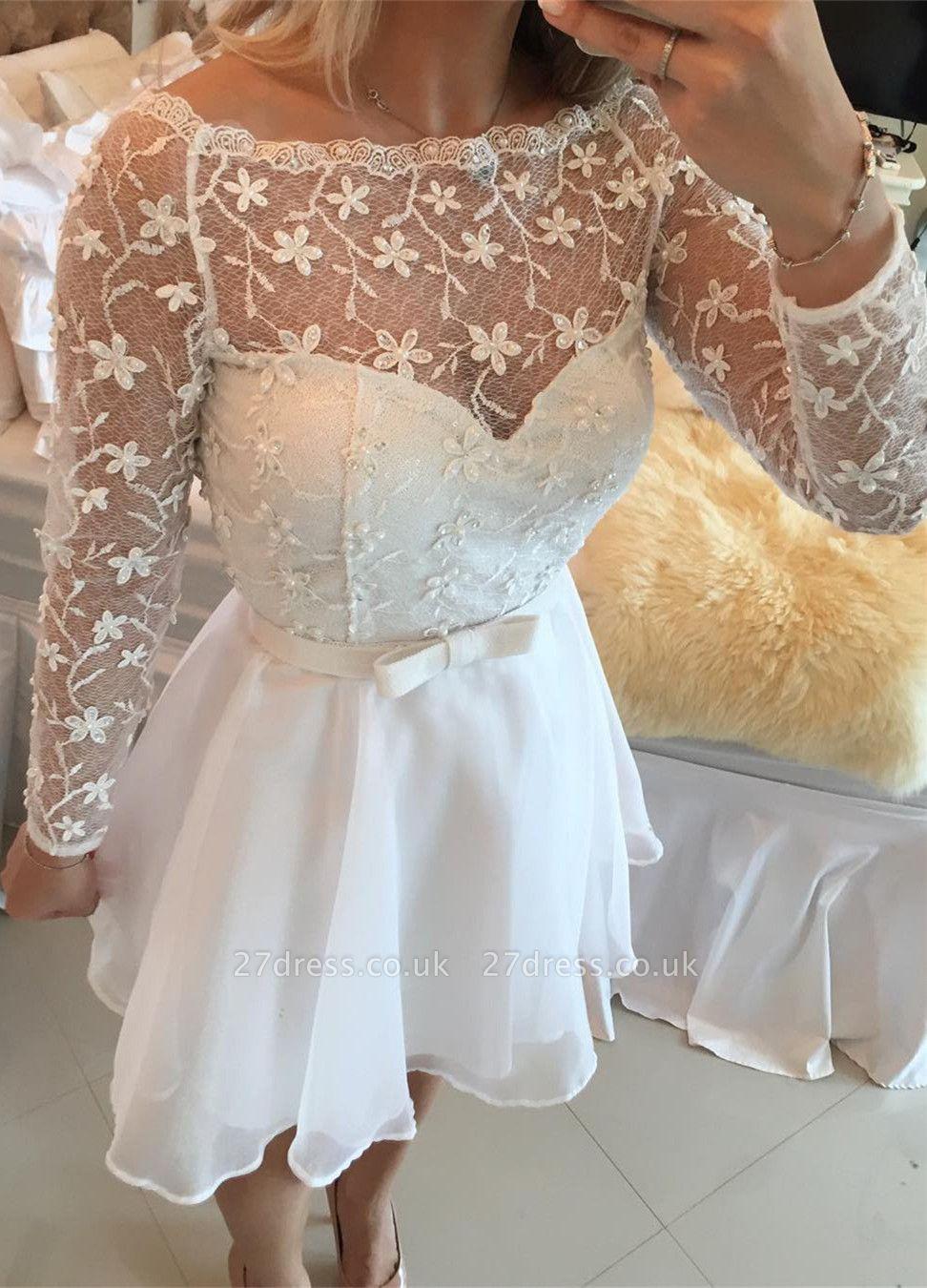Beautiful White Lace Homecoming Dress UK Short Long Sleeve Cocktail Dress UK