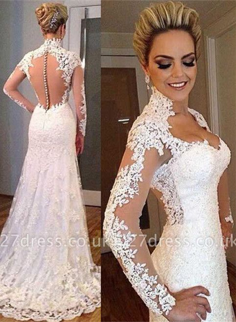 Elegant Lace Appliques High Neck Wedding Dress Long Sleeve Zipper Button Back