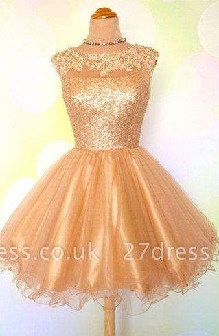 Gold Sequins Appliques Shiny Short Puffy Homecoming Dress UKes UK