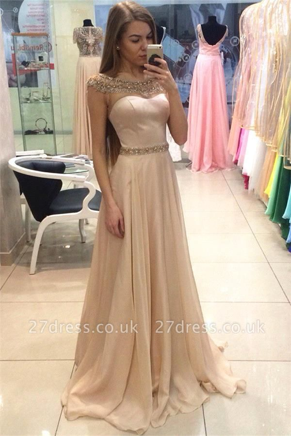 Gorgeous Jewel Long Evening Dress UK Chiffon Crystal Floor Length