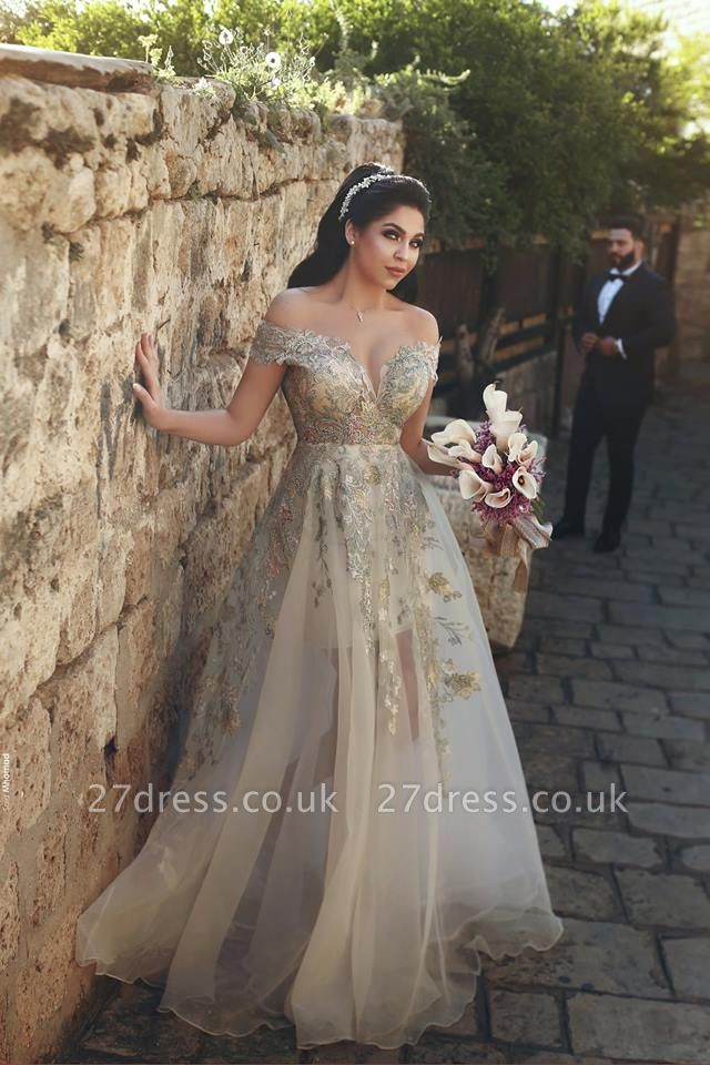 Off-the-Shoulder Prom Dress UK | Tulle Lace Appliques Evening Gowns