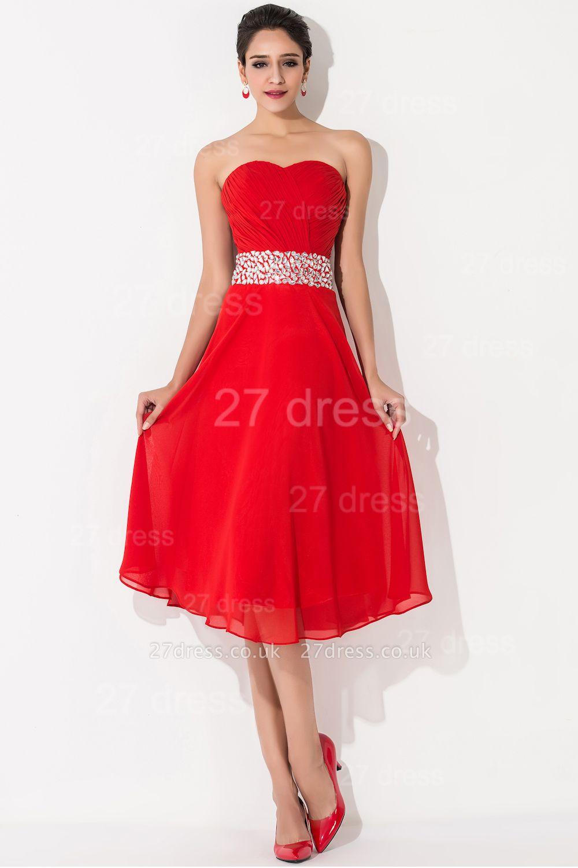Modern A-line Red Chiffon Evening Dress UK Crystals Knee-length