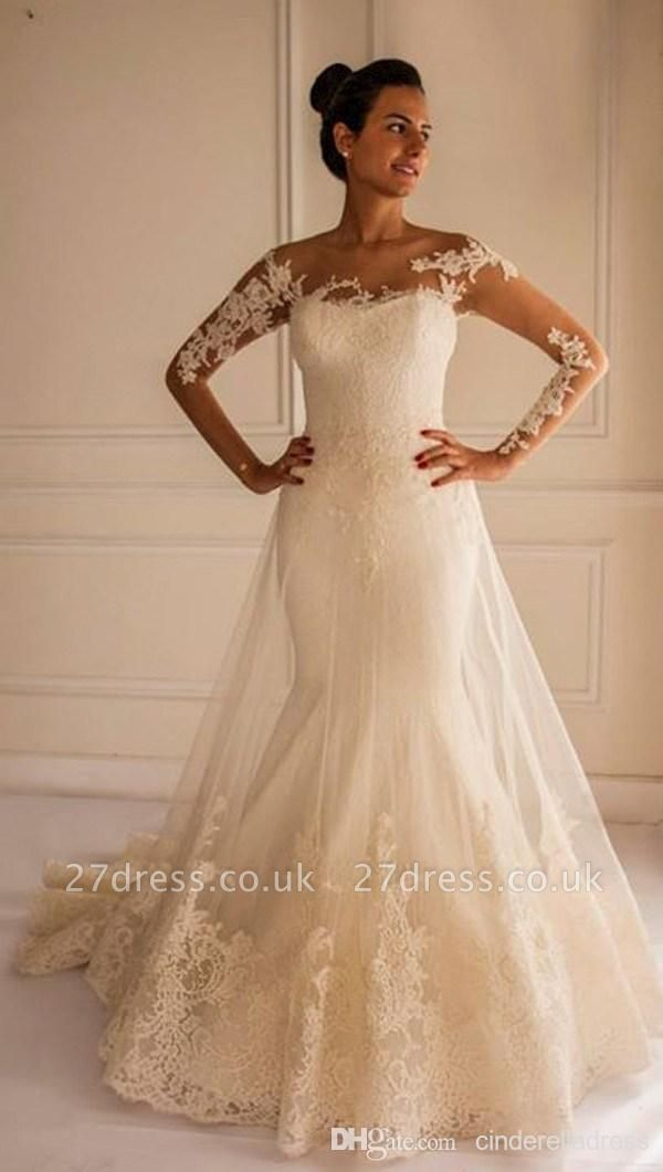 Chic Lace Appliques Sexy Mermaid Tulle Wedding Dress Court Train