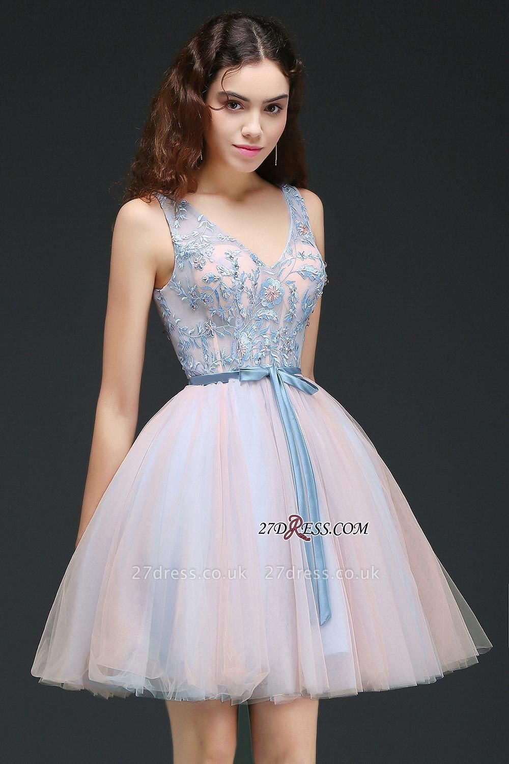 Fairy Sky-Blue V-Neck Puffy Flowers-Beaded Homecoming Dress UKes UK