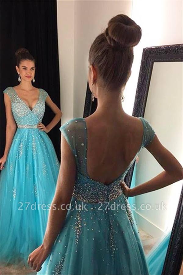 Sexy V-Neck Beadings Prom Dress UKes UK Long A-Line Tulle AP0