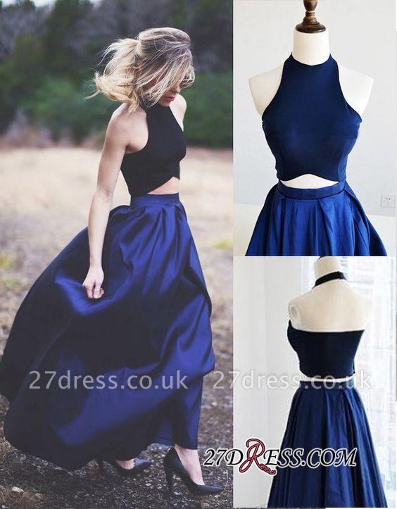 Navy Blue Puffy Sexy Two-Piece Prom Dress UKes UK