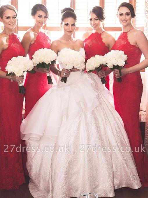 Elegant Halter Sleeveless Mermaid Red Bridesmaid Dress UK Sweep Train