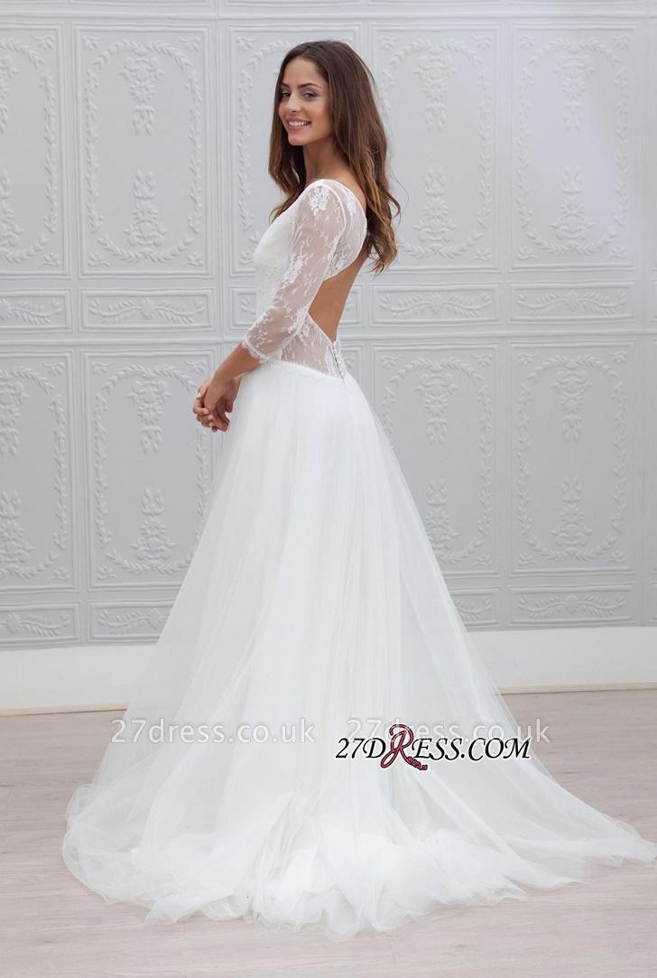 V-neck Sweep-train Simple Backless A-line Wedding Dress LPL120
