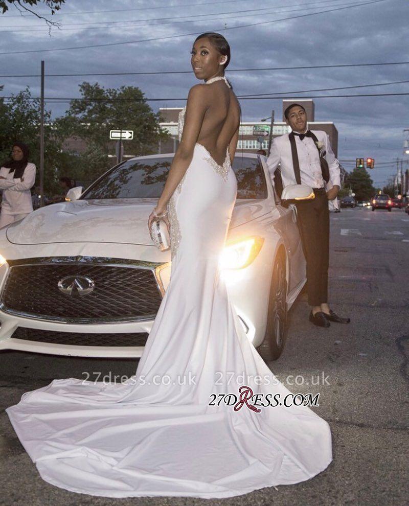 White beadings prom Dress UK, backless evening gowns BK0