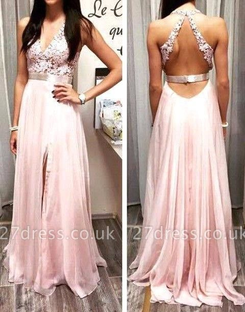 Modest Lace Front Split Prom Dress UK Sleeveless V-neck A-line