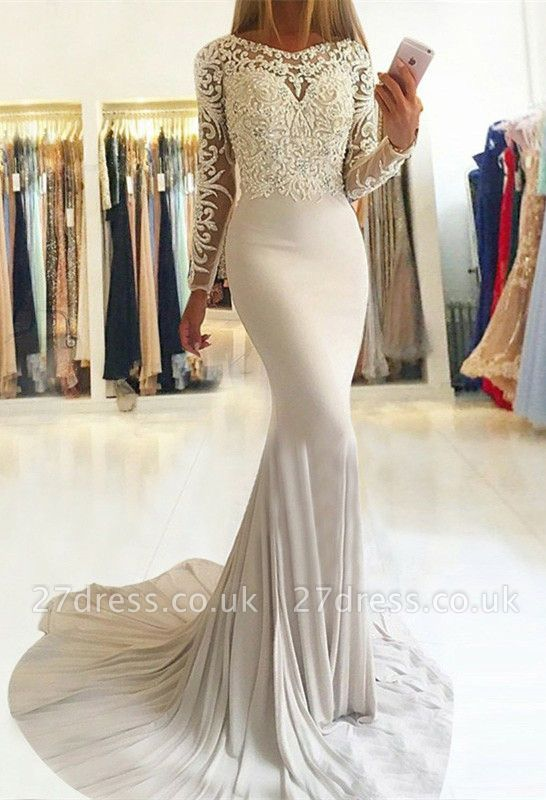 Sexy Long-Sleeve Lace Prom Dress UK | Mermaid Evening Party Gowns