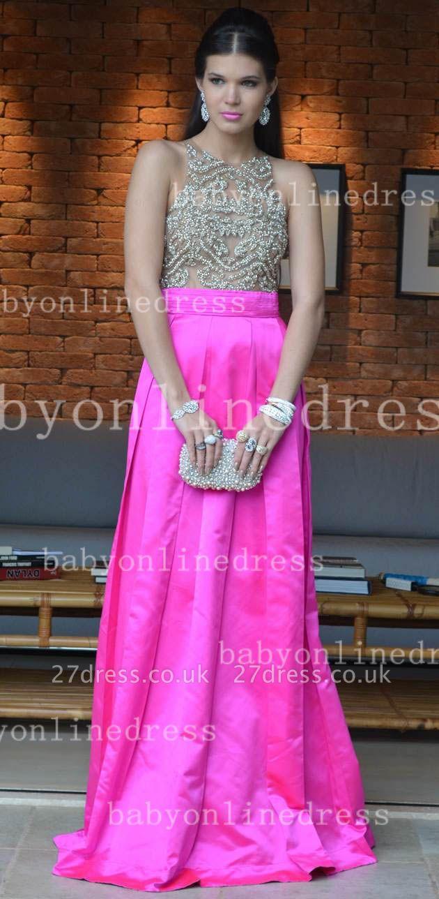 Pink Elegant Vestidos Vintage Prom Dress UKes UK Long Jewel Ruffles Evening Dress UKes UK With Beaded Crystal