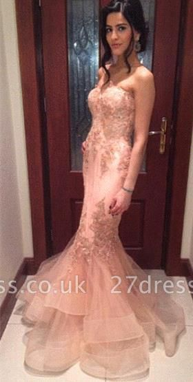 Delicate Lace Appliques Mermaid Prom Dress UK Strapless Sleeveless Sweep Train