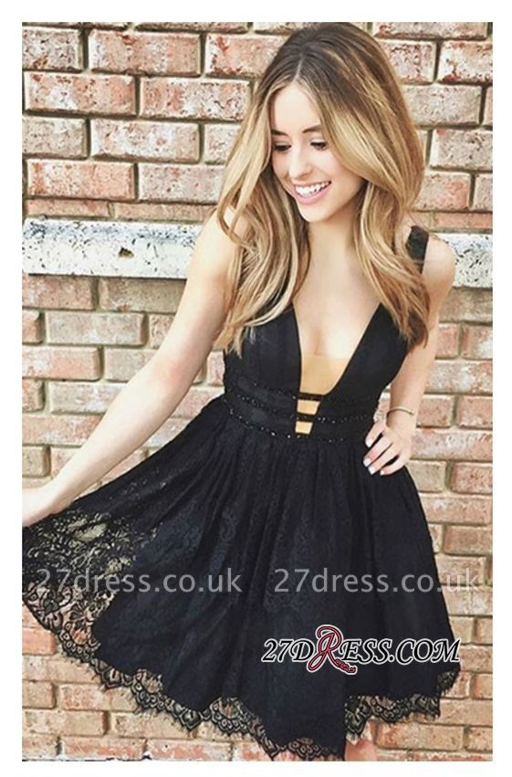 Short Lace Sleeveless Elegant Deep-V-Neck Black Homecoming Dress UKes UK
