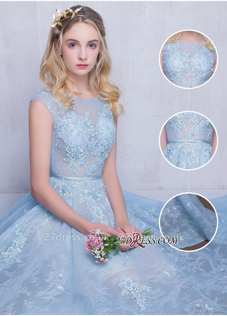 Fairy Sky-Blue Puffy Long Sheer A-line Lace-Appliques Prom Dress UKes UK
