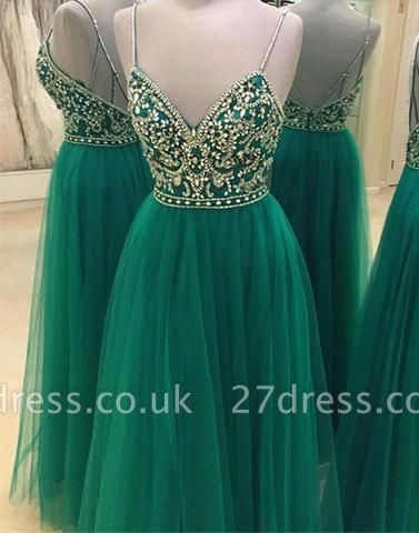 Green Beading Backless A-line Spaghetti Straps New-Arrival Evening Dress UK